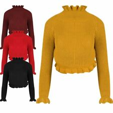 Womens Ladies Frill High Polo Neck Cable Knit Chunky Cropped Jumper Sweater Top
