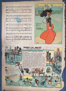 2 PORE LIL MOSE Black Comic character - R. F. Outcault 1915, Vintage Sheet Music