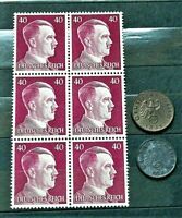 WW2 GERMAN REAL 3rd REICH ERA  6 STAMPS AND 2 REICHSPFENNIG A.HITLER 40 rf