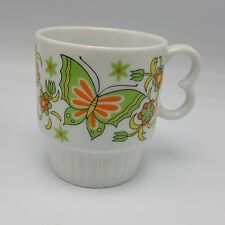 Butterfly Coffee Mug Cup Retro Stackable Japan Mod Teal Orange Lime Red Blue