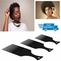 3 Pcs Professional  Afro Pik Comb Set For Untangle/Style/Lift Black Smooth Brush