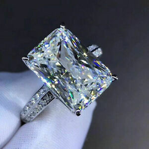 14k White Gold 3.00 Ct Radiant Cut Diamond Engagement Ring Fine Jewellery
