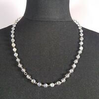 VINTAGE 50/60s Glass Crystal Necklace Faceted Beaded Collar Length Link Retro