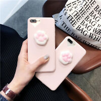 For Apple iPhone X 8 6 7 Plus Squishy Cartoon Toy Cat Paw Soft Rubber Case Cover