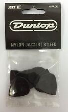 JIM Dunlop Jazz III Stiffo PLETTRI PER CHITARRA-Nero Pacco Da 6