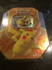 Pikachu EX Tin Box Pokemon TCG with 4 Booster Packs Trading Card Game New