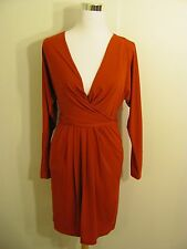 BCBG MAXARIA Petite Dress Women's Red Slinky Stretchy Faux Wrap Long Sleeve New