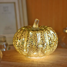 Mercury Glass Lighted Pumpkin with Timer for Fall Décor, Christmas gift, Silver,