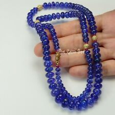 14k solid gold Diamond Ruby Tanzanite Large Smooth Rondelle Bead Necklace 26inch
