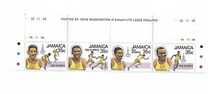 Jamaica Stamps Strip 4 Olympics 1980 35c  Mnh With Margin