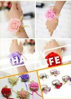 Bride Wrist Corsage Sister Hand Flower Groom Boutonniere Man Wedding Party NT