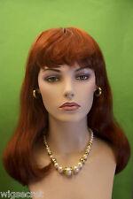 Glamorous Red Long Medium Straight Skin Top Wigs