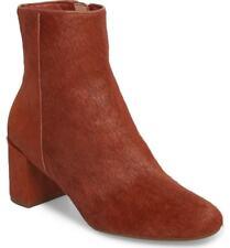 TARYN ROSE Cassidy Block Heel BOOTIE 5 Genuine Calf Hair Leather Terracotta NEW