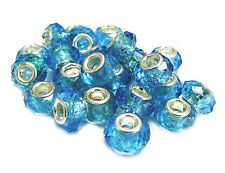 European Beads Charms Roundelle Large Hole Facets 15 x 10 mm 10 pcs Blue