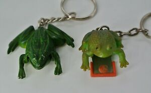 2 Green Frog Keychain Metal Plastic Clicker Dog Training Tool