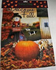 """Christmas Decorative Yard Flag 12"""" x 18"""" Welcome Fall Scarecrow Welcome"""