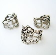 Ring Base Adjustable Filigree Setting Antique Silver -2pcs.