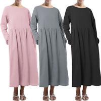 ZANZEA Women Long Sleeve Crew Neck Long Shirt Dress Plain Midi Dress Plus Size