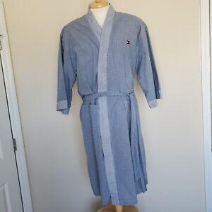 Tommy Hilfiger Robe Bathrobe Blue Green Stripe Ticking One Size Dressing Gown
