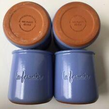 Four (4) La Fermiere Terra Cotta Pots Periwinkle Blue Glazed French Yogurt Crock