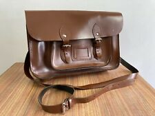 OXBRIDGE Satchel Bag. Leather. Brown. 14 inch. Chestnut. School Bag. Traditional