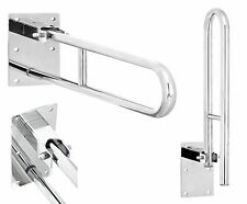 Stainless Steel Hinged Bathroom Safety Rail Grab Bar Support Drop Down, 600mm
