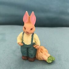 Vtg Tiny Papa Easter Rabbit Overalls Carrots Figurine Miniature Statue 2� *936
