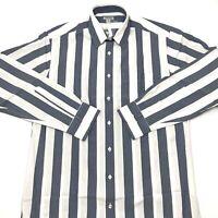 J. Peterman Mens Button Up Shirt Long Sleeve Blue White Striped Size Medium. B9