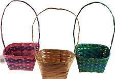 Set Of 3 Pastel Colour Easter Egg Hunt Wicker Baskets