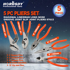 5 pc Pliers Set Nose Plier Tool Needle Diagonal Groove Joint Linesman Pliers