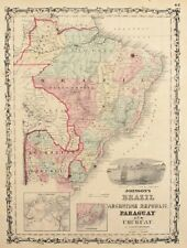 1860 Brazil Johnson Antique Map