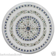 """12"""" White Marble Round Coffee Table Top Pauashell Stone Living Room Decor H2329"""