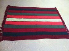 "Vintage Large Striped Handmade knit/crochet Afghan Blanket Throw Bedding 73""x54"""