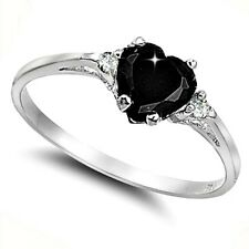 .925 Sterling Silver Ring size 8 CZ Heart cut Black Midi Knuckle Ladies New x32