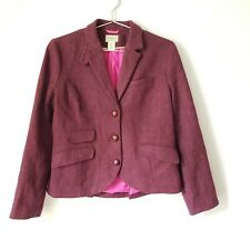 LL Bean Wool Herringbone Tweed Equestrian Riding Country Jacket Blazer Womens 10