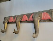 Pier 1 Carved Painted Wooden Elephant Coat/Hat Wall Hanging Rack