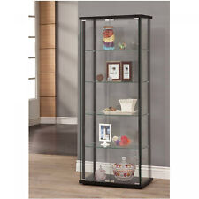 Glass Curio Cabinet Tower Door Display Shelves Showcase Collectibles Porcelain
