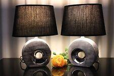 2 Lampen Tischleuchte schwarz silber Nachttischlampe Tischlampe Leuchte Keramik
