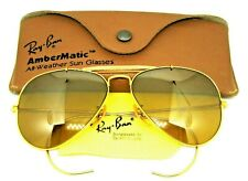 Ray-Ban USA Vintage 70s NOS B&L Aviator Ambermatic Full Mirror Photo Sunglasses