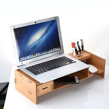 Wooden TV Computer Monitor Stand Desk Organiser Desktop Items Tidy Storage Box