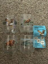 Set Of 4 Vintage Libbey SunocoGas & Oil American Wildlife Barware Bald Eagle +
