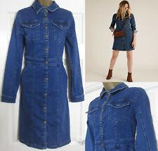 NEW M&S Ladies Holly Willoughby Denim Mini Shirt Dress Indigo RRP £49 Size 6-22