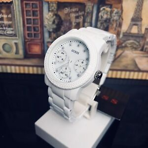 SUPER LIGHT WEIGHT LADIES' GUESS WATCH FUNFETTI WHITE 0944L1 RRP: $349 Brand New
