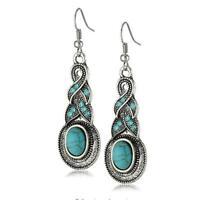 Women Tibetan Silver Turquoise Rhinestone Crystal Dangle Hook Earrings