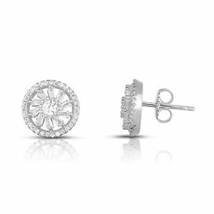 14K Gold Plated 925 Sterling Silver Cubic Zirconia Floral Halo Stud Earrings