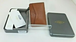 New With Tag Fossil Men Card Case Saddle Wallet