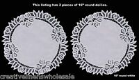 """2PCS White Battenburg Lace Doilies Placemats 16"""" Round with Hand Embroidery New"""