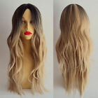 Women Long Curly Wavy Hair Full Wig Cosplay Black Root Ombre Blonde Costume