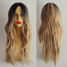Women Heat Resistant Long Curly Wavy Full Wig Hair Ombre Blonde Cosplay Anime