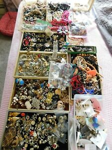 Vintage Jewelry Lot 20 Pounds Broken, Tangled, For Crafts. Repair, Rhinestone